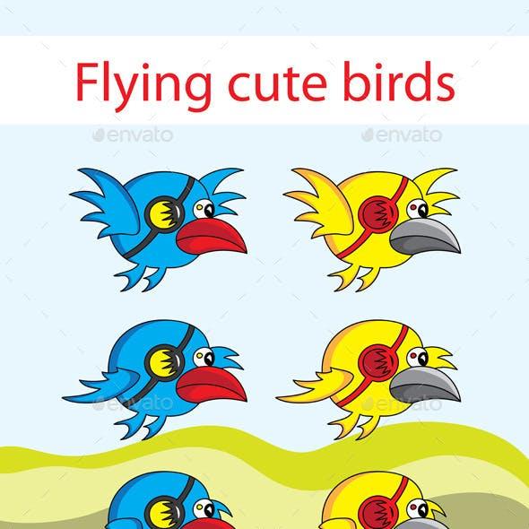 Flying cute birds