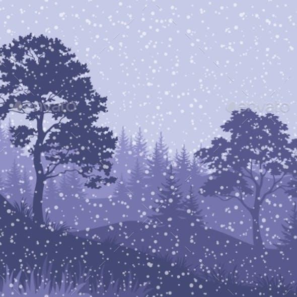 Christmas Winter Mountain Landscape