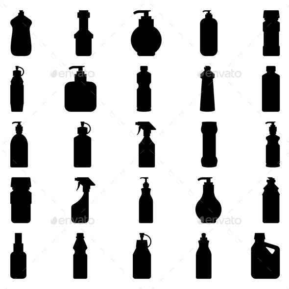 Set of Container and Bottle Silhouettes