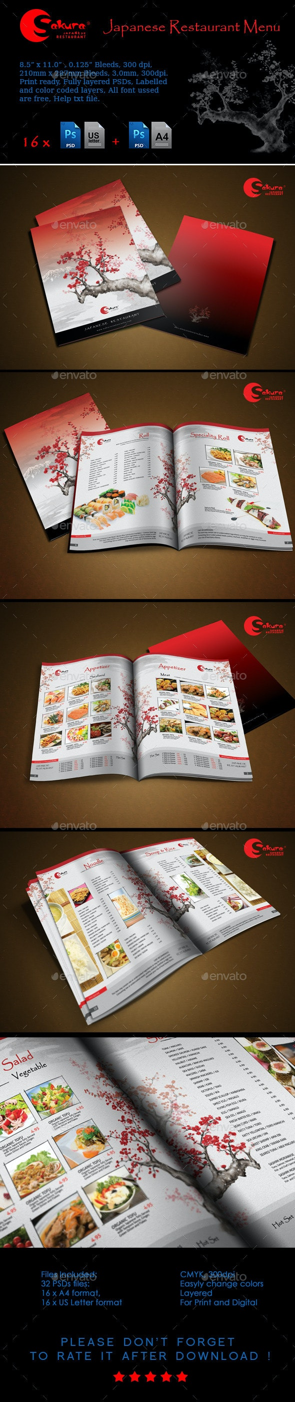 Sakura Restaurant Menu - Food Menus Print Templates