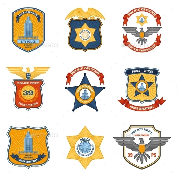 Police Badges Colored - Miscellaneous Vectors