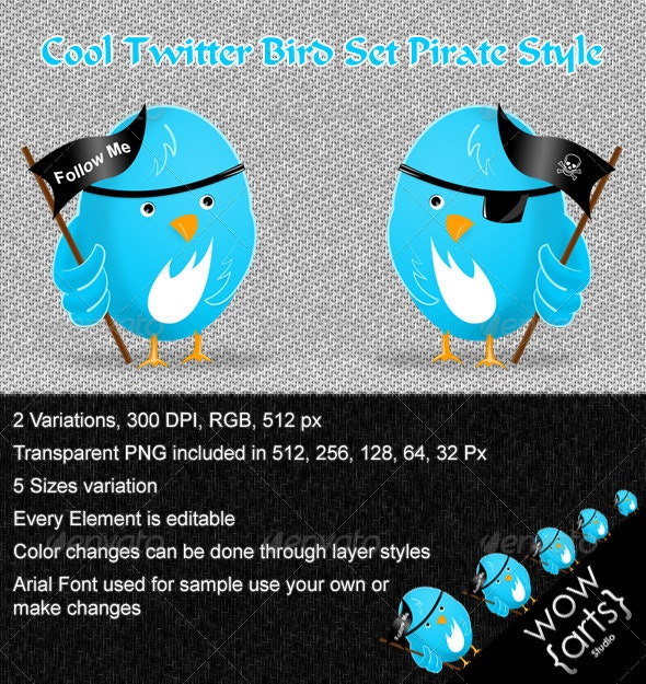 Cool Twitter Bird Set Pirate Style - Characters Illustrations