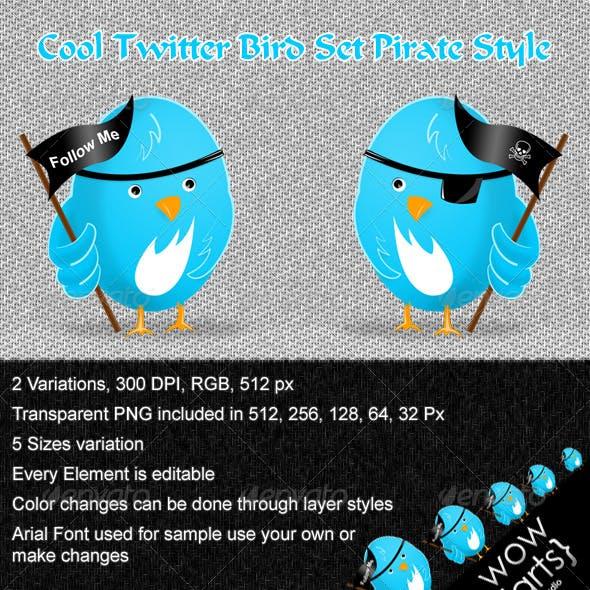 Cool Twitter Bird Set Pirate Style