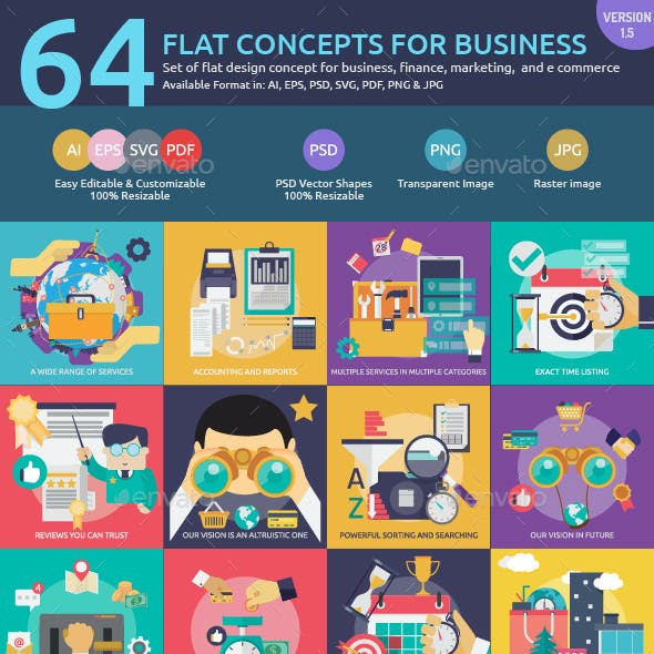 Flat Concepts for Business, Finance & Marketing
