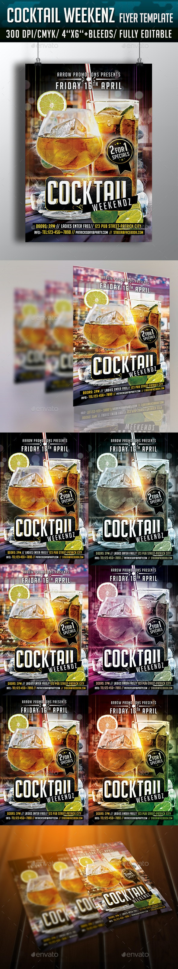 Cocktail Weekends Flyer Template - Clubs & Parties Events