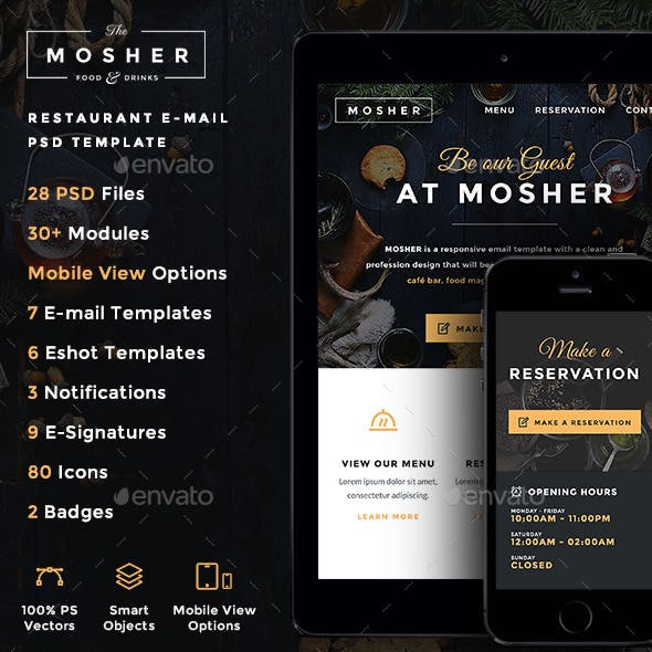 Mosher - Restaurant E-newsletter PSD Template