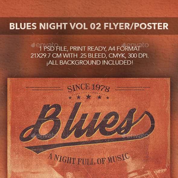 Blues Music Flyer Poster vol 02