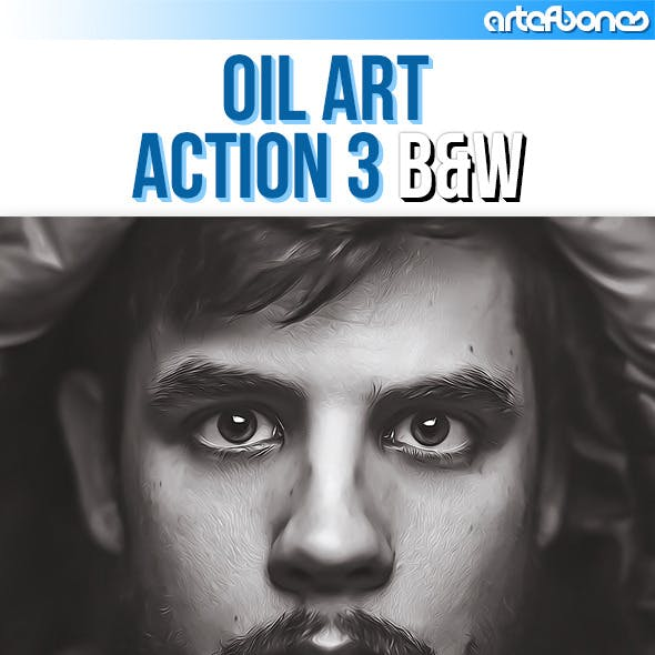 Oil Art Action 3. Black & White Version