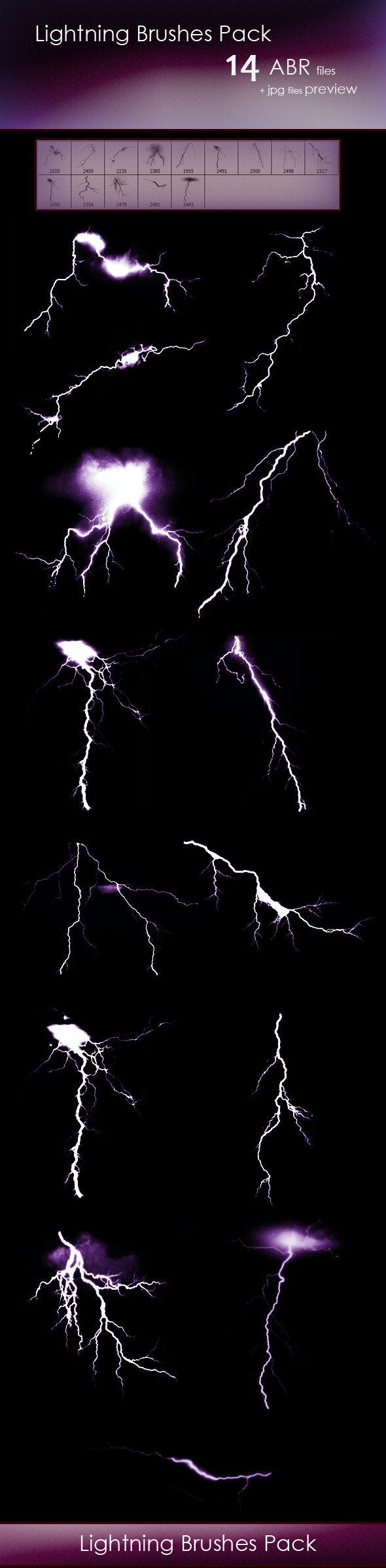 14 Lightning Brushes - Brushes Photoshop
