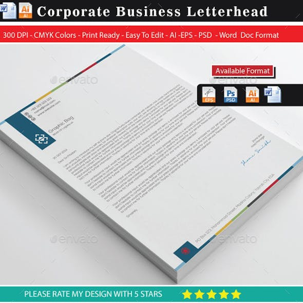 Corporate Business Letterhead With Ms-Word