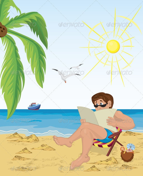 Man sitting in the chair on the beach reading news - Characters Vectors