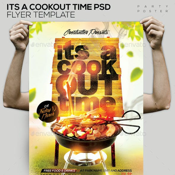 Its A Cookout Time PSD Flyer Template Flyer/Poster