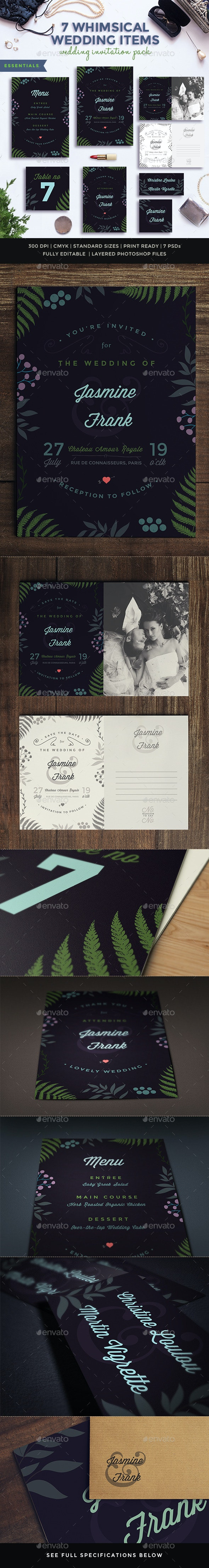 7 Whimsical Wedding Items Pack III - Weddings Cards & Invites