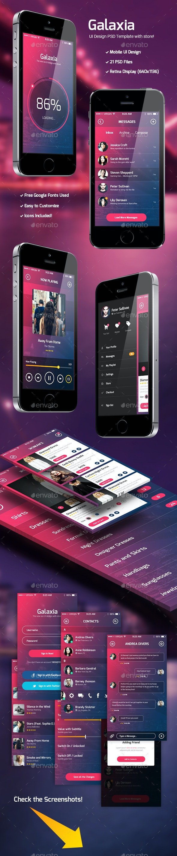 Galaxia - PSD UI Template with Store - User Interfaces Web Elements