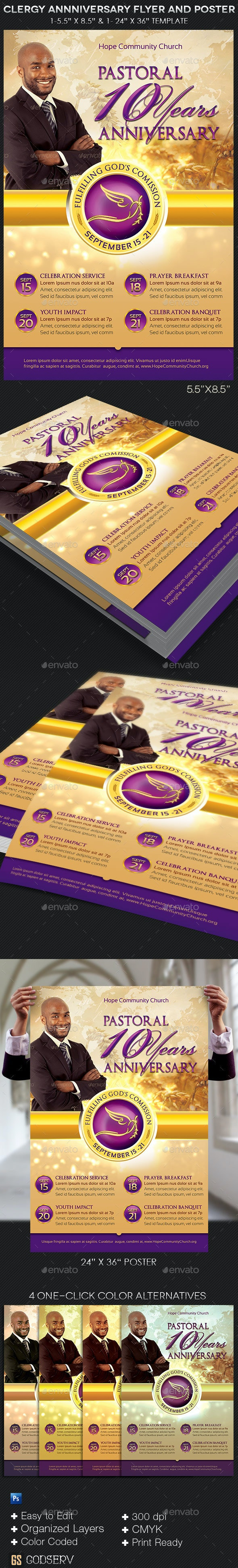 Clergy Anniversary Flyer Poster Template - Church Flyers