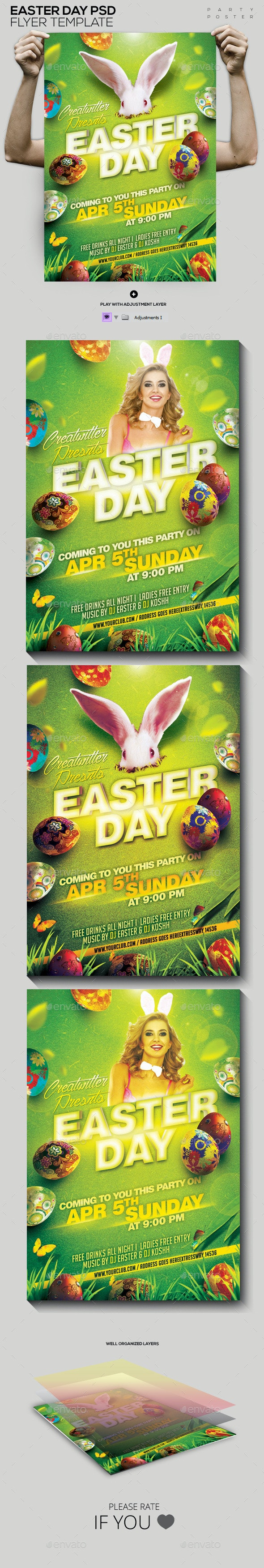 Easter Day PSD Template Flyer/Poster - Holidays Events