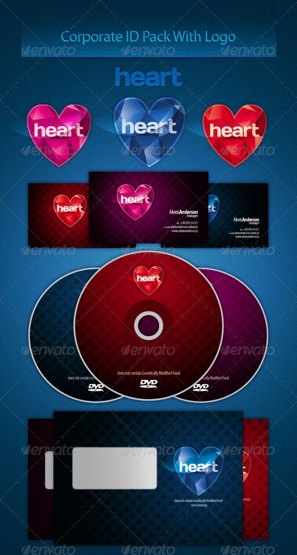 Hearts Corporate Identity Pack With Logo - Stationery Print Templates