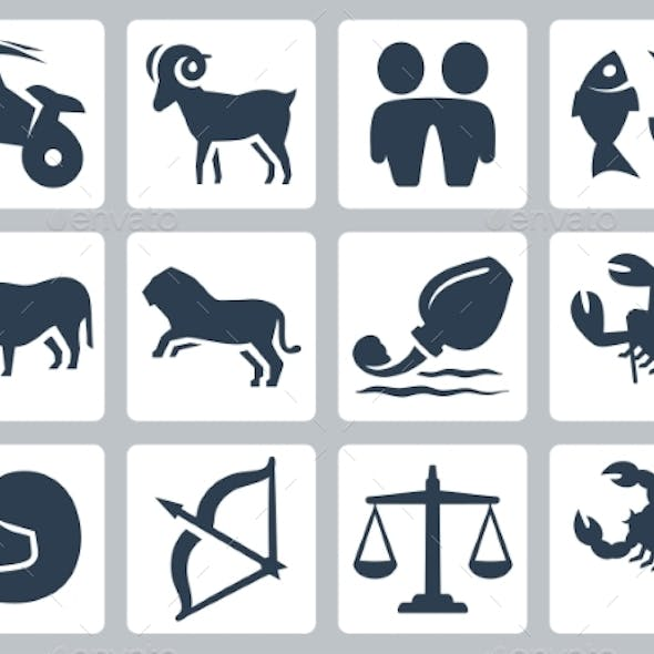 Signs of the Zodiac Vector Icons Set