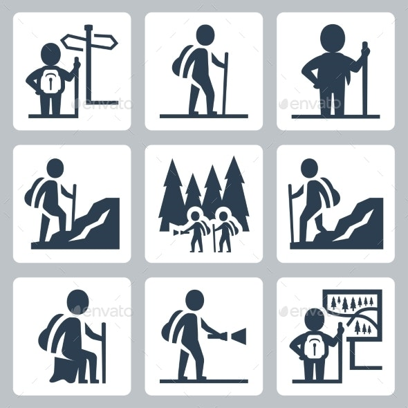 Traveller vector icons set - Icons
