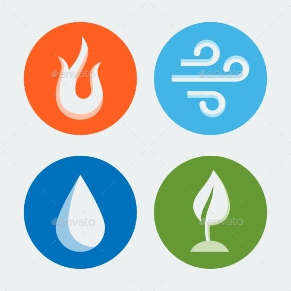 Four Elements - Vector Icons Set #2