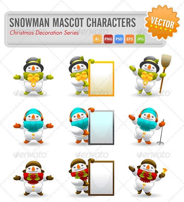 Snowman Mascot Characters - Characters Vectors