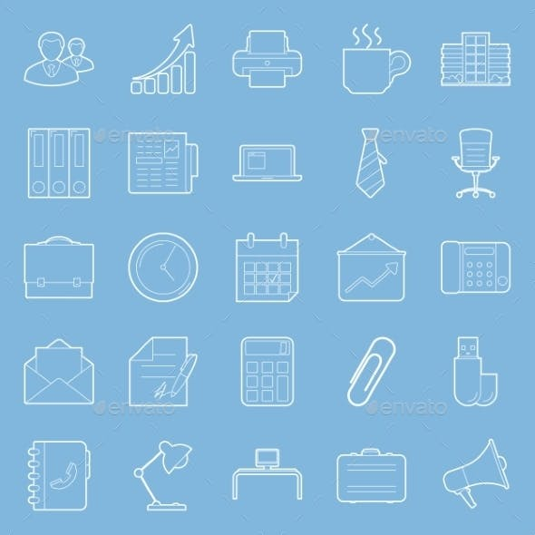 Office and Marketing Thin Lines Icons