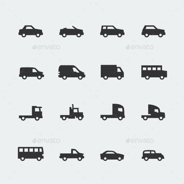 Vector Cars / Vehicles Mini Icons Set