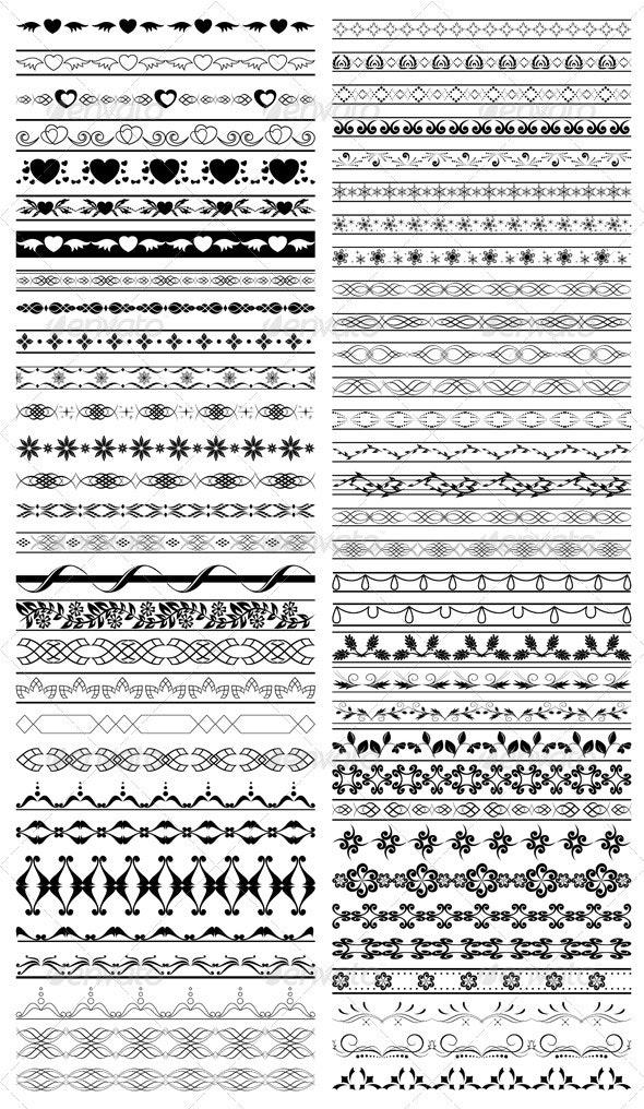 Set of Vector Black Design Elements  - Borders Decorative