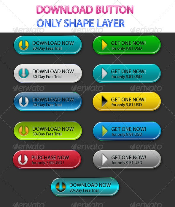 Modern Download Buttons - Buttons Web Elements