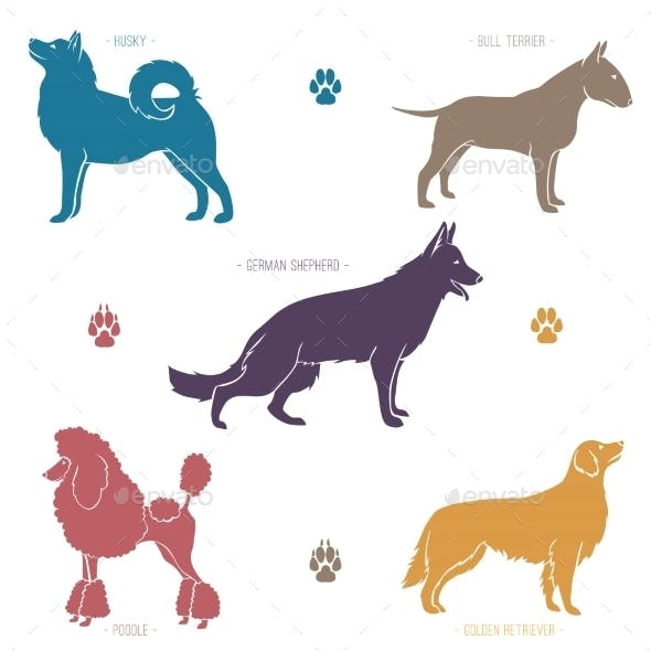 Set of Dog Breed Sihouettes