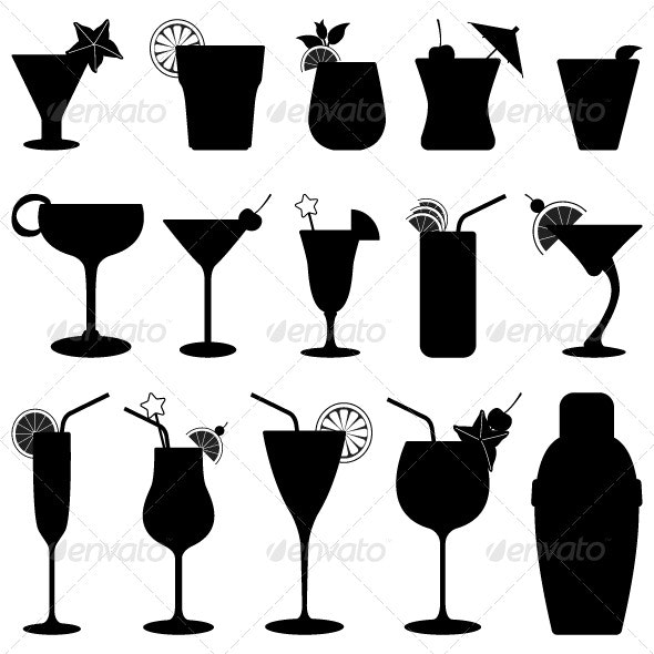 Cocktail Drink Fruit Juice Silhouette - Man-made Objects Objects