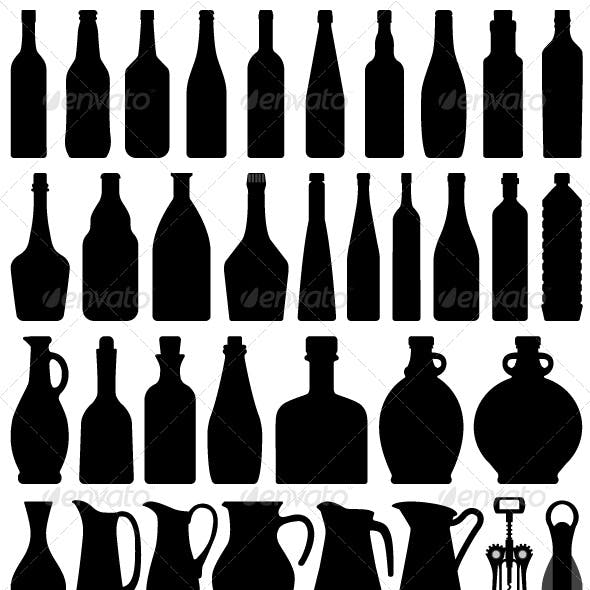 Wine Beer Bottle Silhouette