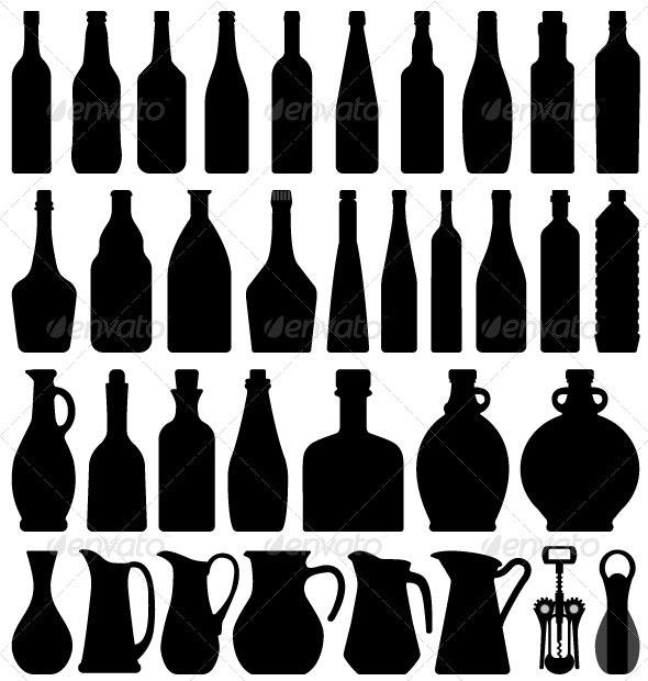 Wine Beer Bottle Silhouette - Man-made Objects Objects
