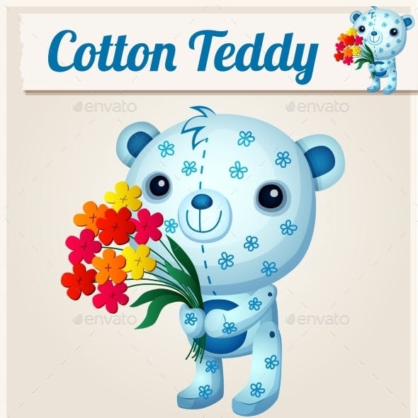 Blue Cotton Teddy Bear