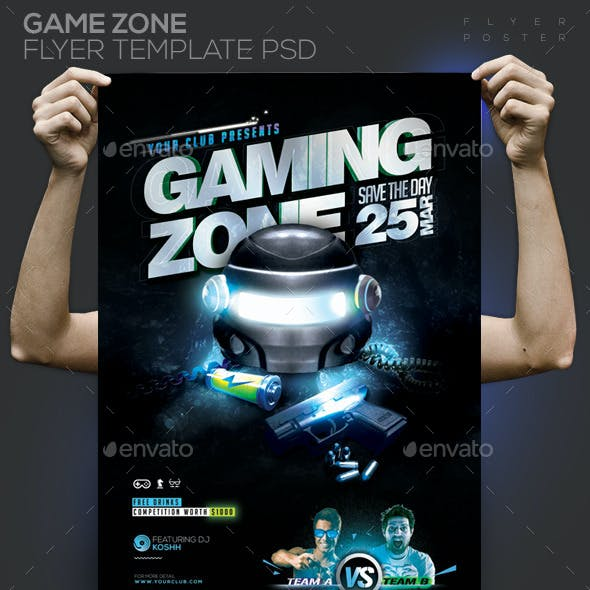 Gaming Zone Template PSD Flyer/Poster