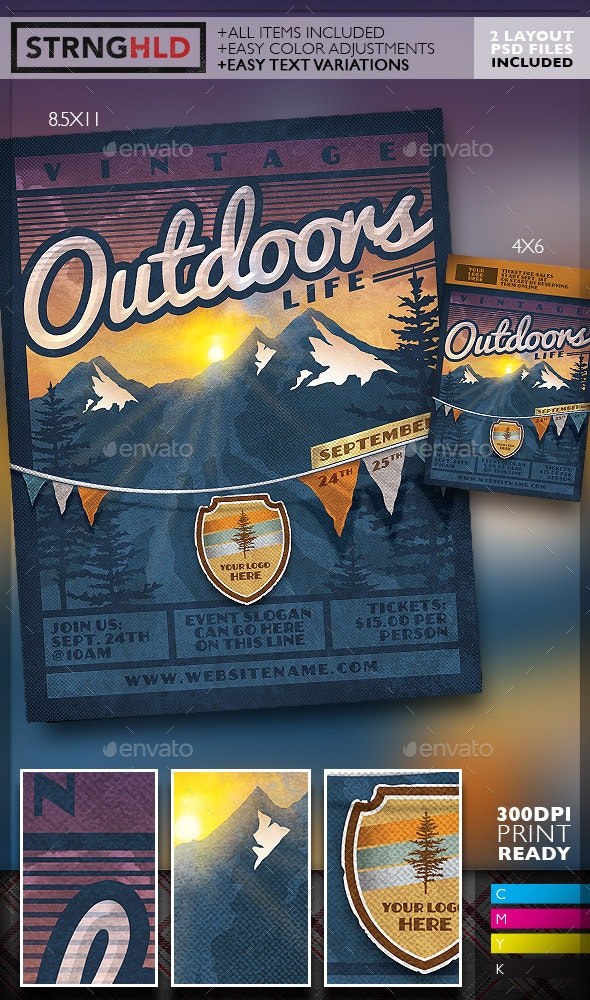 Vintage Outdoor Life Poster Template - Flyers Print Templates