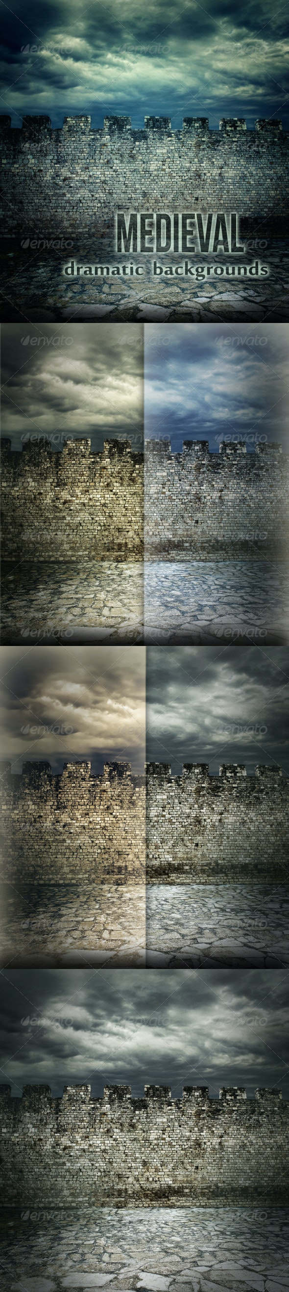 Medieval Wall Dramatic Backgrounds - Urban Backgrounds