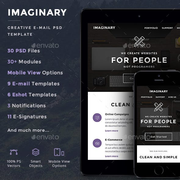 Imaginary - Creative E-newsletter PSD Template