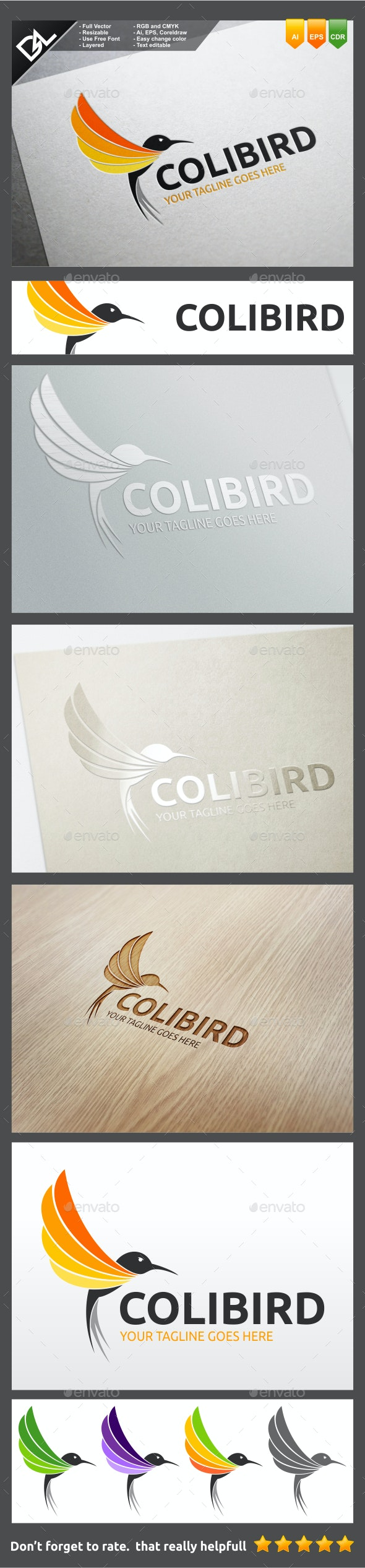 Colibird  - Animals Logo Templates