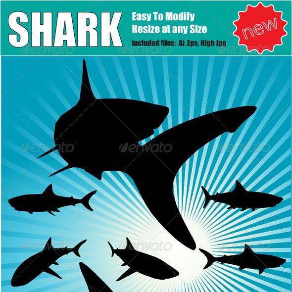 Vector Shark Silhouette Set