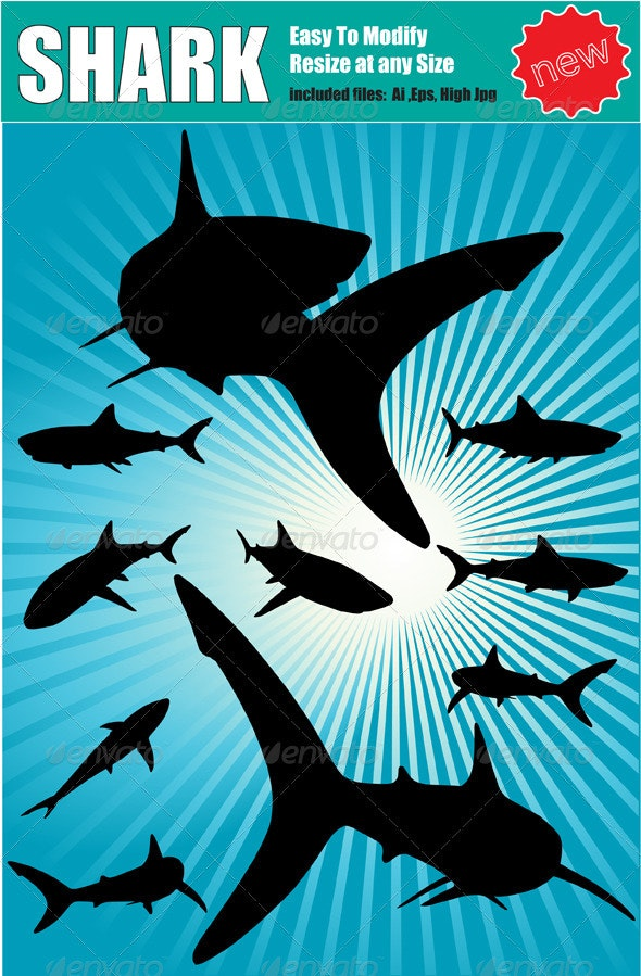 Vector Shark Silhouette Set - Animals Characters