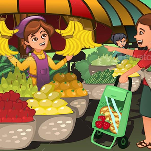 Fruit Seller in a Farmer Market