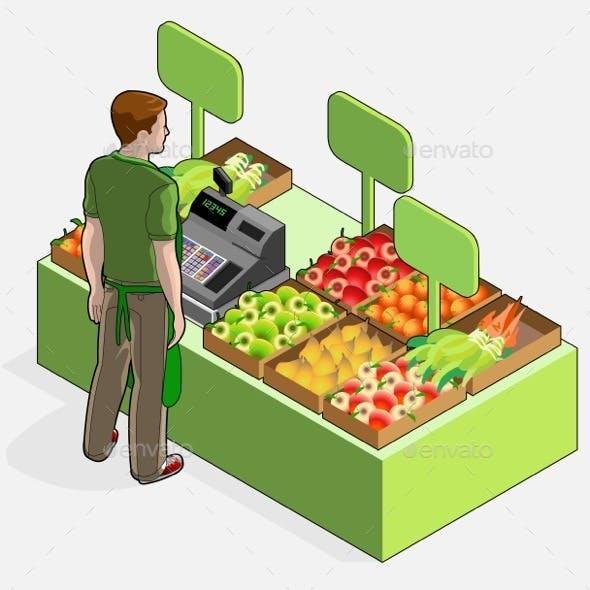 Isometric Greengrocer Shop - Man Owner