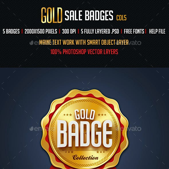 Gold Sale Badges 5