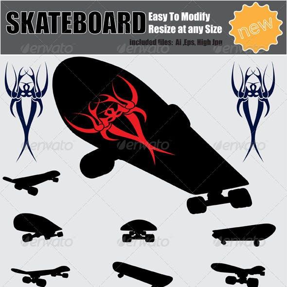 Vector Skateboard Silhouette Set