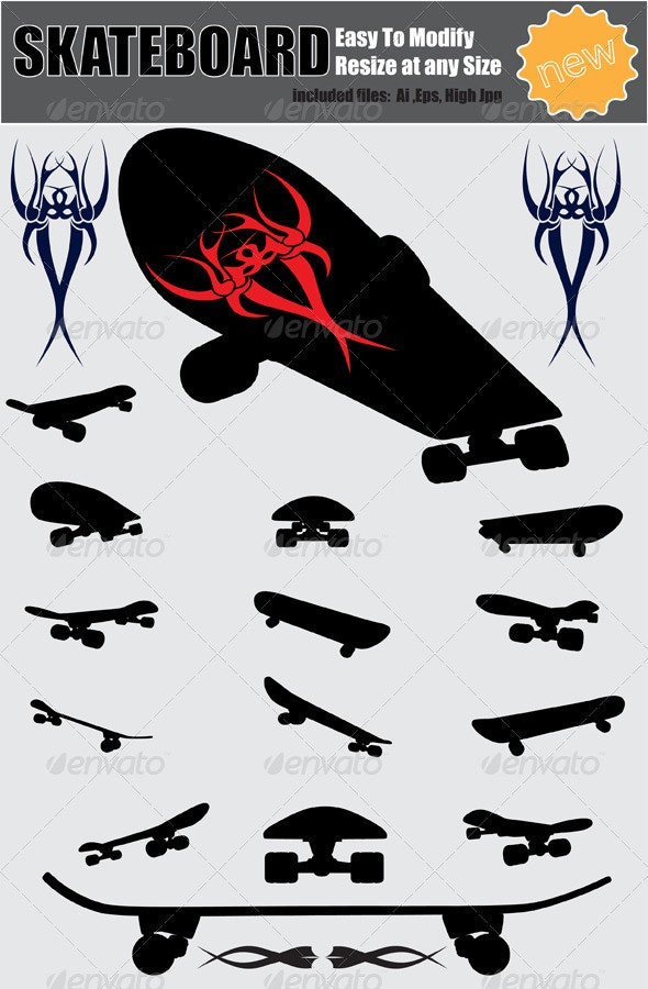 Vector Skateboard Silhouette Set - Man-made Objects Objects