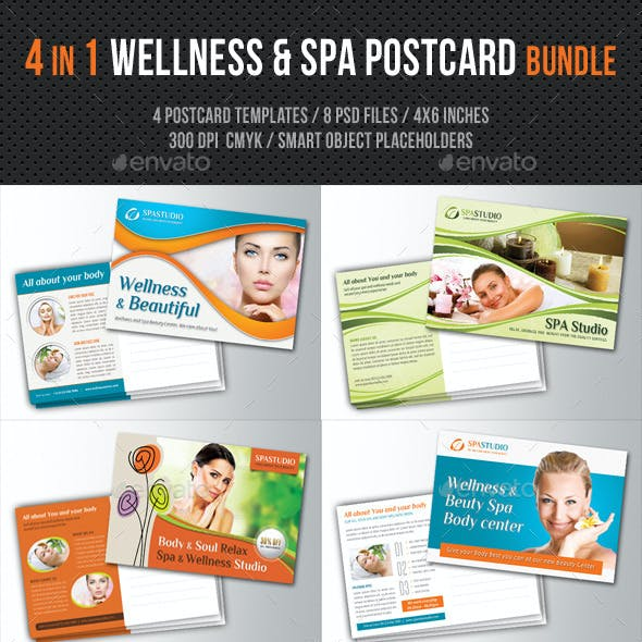 4 in 1 Wellness and Spa Postcard Bundle