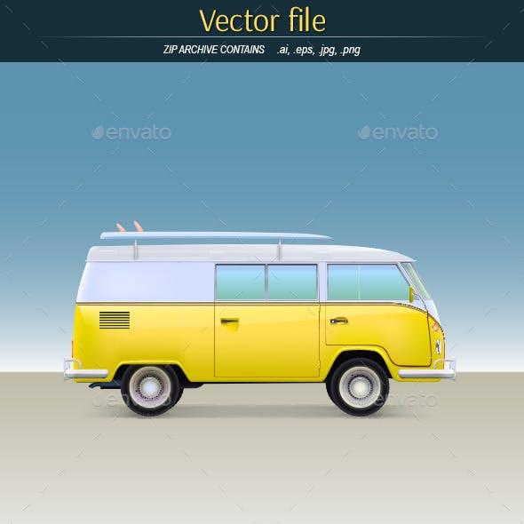 Classic Yellow Minivan with Surfboard