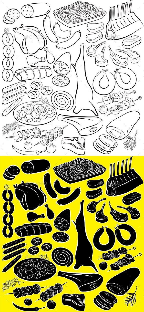 Meat Product Vector - Food Objects