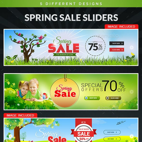 Spring Sale Sliders - 5 Designs
